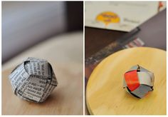 How to Weave a Paper Ball Ornament, You could use the comics for a more colorful version.
