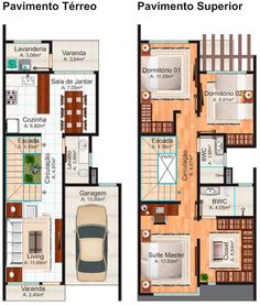 Floor plan of the ground floor and above: townhouse Nova Iguaçu