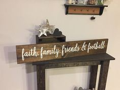 Items similar to Rustic Faith Family Friends and Football Sign - - Love Together Fall Rustic Decor Farmhouse Style Fixer Upper Wood (Item - on Etsy Wooden Pallet Signs, Wooden Pallets, Pallet Wood, Rustic Fall Decor, Rustic Shabby Chic, Football Signs, Usf Football, Blessed Sign, Small Wood Projects