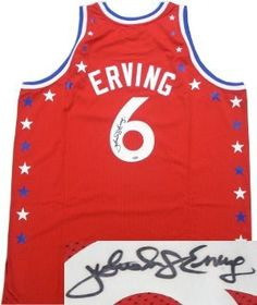 14bbb559d Julius Dr J Erving Philadelphia 76ers NBA Hand Signed Authentic Mitchell  and Ness Red All-