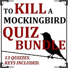 This item contains 13 individual quizzes on To Kill a Mockingbird.  Each quiz features approximately 10 to 15 multiple choice questions.  The corresponding answer keys are included.  The quizzes are broken down as follows:Chapters 1-3 Quiz. Questions pertain to the following important details: Point of view The kids' mother and father Calpurnia's job Dill Background on Boo The dare  Walter Cunningham's philosophy The effects of the Great Depression on Maycomb's citizens Scout's fight The…