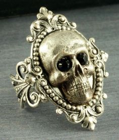 Silver Skull Ring Halloween Ring Gothic Ring by ForTheCrossJewelry