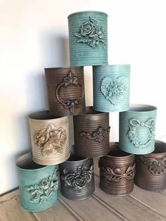 Tin Can Crafts, Crafts To Make, Home Crafts, Diy Crafts, Crafts With Tin Cans, Coffee Can Crafts, Decor Crafts, Wooden Crafts, Jellyfish Painting