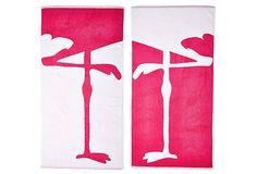 Willow Textiles, Flamingo Legs Towel on OneKingsLane.com