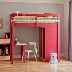 lit mezzanine enfant avec armoire, escalier et bureau intégré