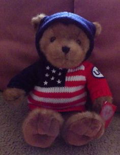 Home for the Holidays Celebrate USA Bear red white blue flag sweater 1999 plush #HomeFortheHolidays