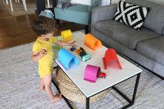 Easy Paper Tunnels for Little Car Lovers Indoor Games For Teenagers, Indoor Activities For Toddlers, Toddler Learning Activities, Sensory Activities, Games For Kids, Transportation Activities, Toddler Classroom, Preschool Class, Kids Playing