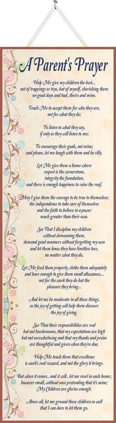 """Parent""""s Prayer Inspirational Sign with Poem & Pastel Flowers"""