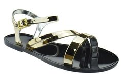 Gracious 15 Jelly Metallic Buckle Flat Sandals Black/Gold * Learn more by visiting the image link.