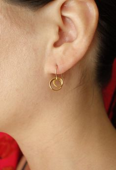 Entwined Circles Drop Earrings in Gold Plate over by Popsicledrum, $23.00