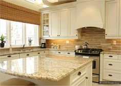 giallo ornamental granite subway-travertine backsplash beige cabinet