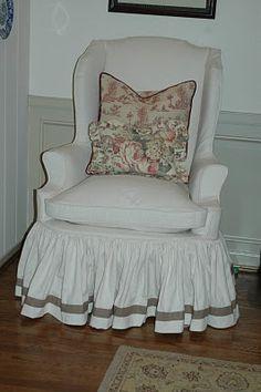 What a precious slipcovered chair!!!