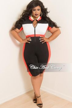 a4f6a9021fae Final Sale Plus Size Sporty Zip-Up Knee-Length Romper Jumpsuit in Black  White