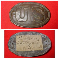 "Nice condition early letter pattern style large size ""U.S."" oval lead filled cartridge boxplate.  This plate was a turn of the century Battlefield pick-up at the Battle of Petersburg, VA. and has a beautiful old brown ink tag on the reverse.  The old brown ink tag alone is a treasure !!  This excellent artifact is out of the 1940 - 1990 collection of the late Mr. Herbert Harper, Sr. of Franklin, TN"