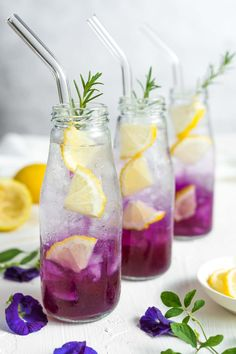This butterfly pea tea lemonade is refreshingly sweet, tangy and fragrant. Also, it's super easy to make and comes with several health benefits! Tea Recipes, Cocktail Recipes, Smoothie Recipes, Cooking Recipes, Asian Recipes, Smoothies, Martini Recipes, Ethnic Recipes, Lemonade Tea Recipe