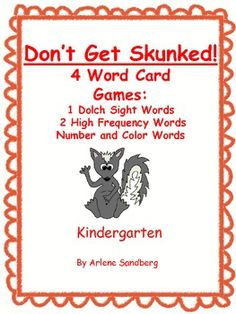 "$3.49 -  4 Kindergarten Word Card Games: ""Don't Get Skunked!"""