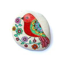 Pájaro de piedra pintadas
