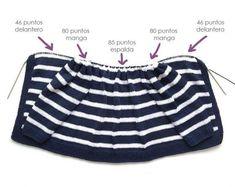 Marinera knit jacket DIY - Tutorial e padrão Knitting For Kids, Baby Knitting, Crochet Baby, Knit Crochet, Baby Cardigan, Knit Jacket, Knitted Baby Clothes, Boho Shorts, Knitwear