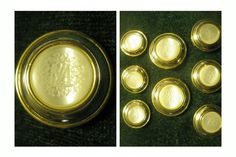 "ButtonArtMuseum.com - ESCADA Margaretha Ley ""ml"" Logo Gold Color 8 Blazer Jacket Coat Button Set"