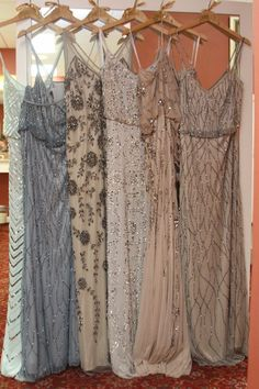Mismatched Gold and Champagne Bridesmaid Dresses Adrianna Papell - Deer Pearl Flowers