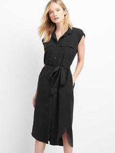 Gap Womens Cap Sleeve Midi Shirtdress True Black