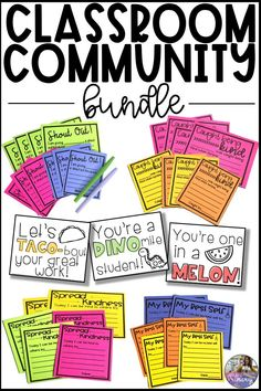 This bundle contains five of my favorite resources for building classroom community: Shout Out cards Caught Being Kind cards Spread Kindness cards  My Best Self cards The Punny Encouragement Cards  #helloprimary #classroomcommunity #kindness #spreadkindness #responsiveclassroom #elementaryteacher Homework Incentives, Classroom Rewards, Classroom Management Tips, Future Classroom, Classroom Activities, Classroom Organization, Management Quotes, Classroom Fun, Behavior Management