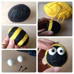DIY, bee, felted wool