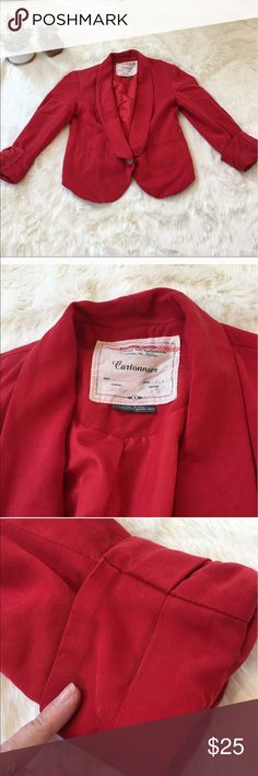 Anthropologie red cropped button front blazer Super soft blazer in gently used condition. Fabric has pre fading for slightly distressed look. slight mark on one sleeve as noted in pic. 3/4 length sleeves Anthropologie Jackets & Coats Blazers