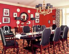 Since you loved that Miles Redd red room, perhaps we could pump up the volume in the dining room, like this one from Mary McDonald. You have a lot of the basic pieces already....