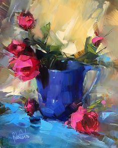 Blue Pitcher Pink Roses by Rita Curtis Oil ~ 10 x 8