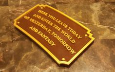 Disney Land Magic Kingdom Entranceway Plaque Inspired Replica - Dual Brown / Gold Color- $34.99. Perfect for any Disney fan to add to their collection. Bring a little bit of the Happiest Place on Earth to your home. Disney World Gifts, Disney Land, You Left, Magic Kingdom, Earth, Fan, Messages, Inspired, Brown