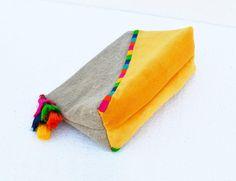 Gelbe Farbe Block Leinen Samttasche Boho Tasche von VLiving auf Etsy
