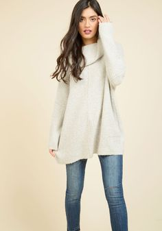 Throw in the Cowl Sweater in Mist. When the week is over and its time to unwind, a chill sesh with this ivory sweater is a must! #grey #modcloth