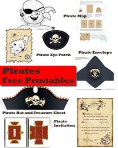 Pirates! pirate hat, pirate ship, pirate party invitation, pirate map, pirate tracing sheet, pirate eye-patch: Free printables!: