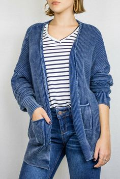 Lightweight Cable-Knit Cardigan $30.00 // blue, striped shirt, casual outfit, denim jeans The Copper Closet, fashion, boutique, clothing, affordable, style, woman's fashion, women fashion, online shopping, shopping, clothes, girly, boho, comfortable, cheap, trendy, outfit, outfit inspo, outfit inspiration, ideas, Jacksonville, Florida, photo shoot, look book