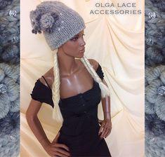 """Купить Вязаная шапка """"Красотка"""" от Olga Lace - вязаная шапка, красотка, серая шапка, серый"""