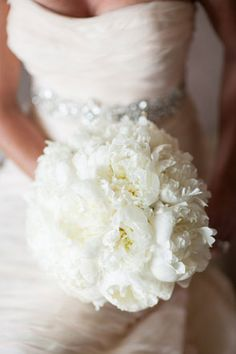 White peony bouquet captured by Justin DeMutiis Photography at Sandpearl Resort | OPAL Collection