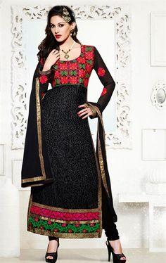 Picture of Captivating Black Salwar Kameez with Dupatta