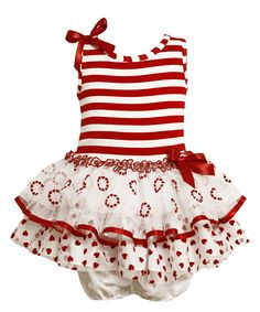 Gerson & Gerson Red Stripe Ruffle Dress & Diaper Cover - Infant
