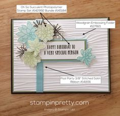 Oh So Succulent stamp set birthday card idea.  Mary Fish, Stampin' Up! Demonstrator.  1000+ StampinUp & SUO card ideas.  Read more https://stampinpretty.com/2017/03/inspired-by-color-oh-so-succulent-stamp-set.html