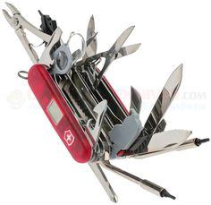 Victorinox Swiss Army SwissChamp XAVT Red 53509 | OsoGrandeKnives Swiss Army Pocket Knife, Tools And Toys, Victorinox Swiss Army, Inventions, Muffin Cups, Knives, Weapons, Red, Guns