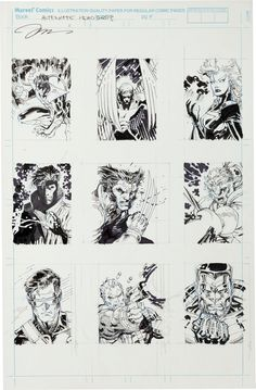 unused head shots for the backs of Jim Lee's 1992 X-Men trading card set