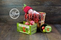 Baby Red Apple Hat - Fall - Halloween - Thanksgiving - Newborn Photo Prop - Sizes Newborn - Toddler. $22.00, via Etsy.
