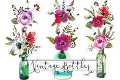 Watercolor floral bouquets & bottles by whiteheartdesign on @creativemarket