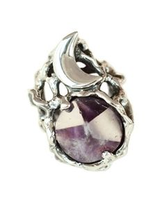 Silver Icon Amethyst Moon Cocktail Ring, moon and amethyst for protection, healing and psychic awareness