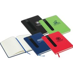 """This soft-cover journal with elastic pen holder is a gift that any student will treasure! Measuring 5 5/8"""" x 7 3/4"""" x 1/2"""" and available in several colors, this stellar 80-sheet ruled pad features a flexible cover and a ribbon page marker so you never lose your place. Customize with an imprint of your company name and logo to increase brand visibility on a highly used item. What a great gift or incentive for universities, hotels, tradeshows, conventions and more."""