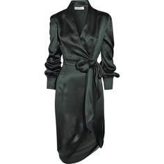 Yves Saint Laurent Silk-satin wrap-style dress (€1.695) ❤ liked on Polyvore featuring dresses, vestidos, outerwear, coats, green dress, longsleeve dress, v neck wrap dress, long sleeve dress and wrap dress
