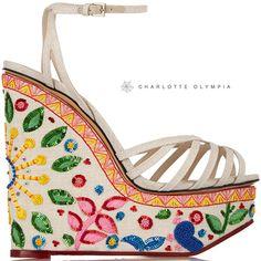 Charlotte Olympia Cruise 2015 Celebration Meredith Embellished Wedge-Sandal - Buy Online - Designer Sandals, Wedge