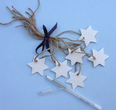 mud pack - star clay gift tags {set of 6+gel pen} - by mudbynest on madeit