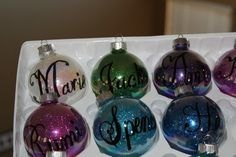 DIY Glitter Ornaments~~would be cute for a baby first Chirstmas